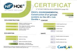 Certification Haute Qualité Environnementale du groupe scolaire de Valdivienne (86)